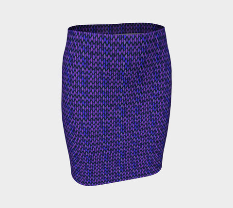 Blue Tile Pattern Fitted Skirt