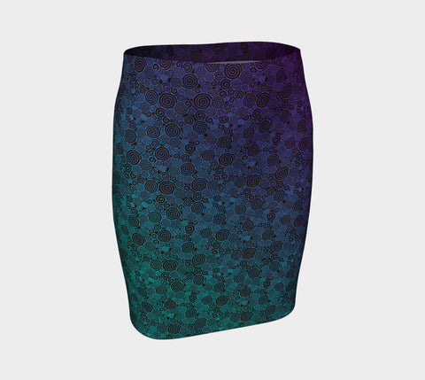 Neon Whirlwind Fitted Skirt