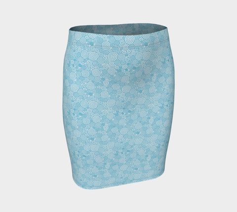 Light Blue Whirl Fitted Skirt