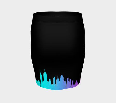 NYC Neon Skyline Fitted Skirt