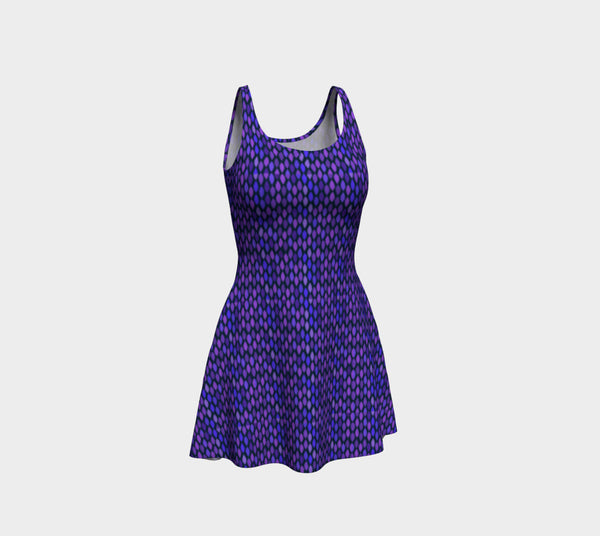 Blue Tile Pattern Flare Dress