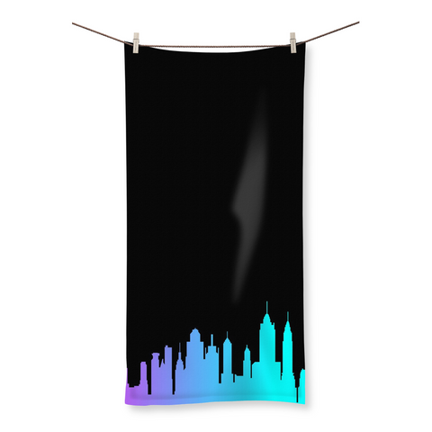 NYC Neon Skyline Beach Towel