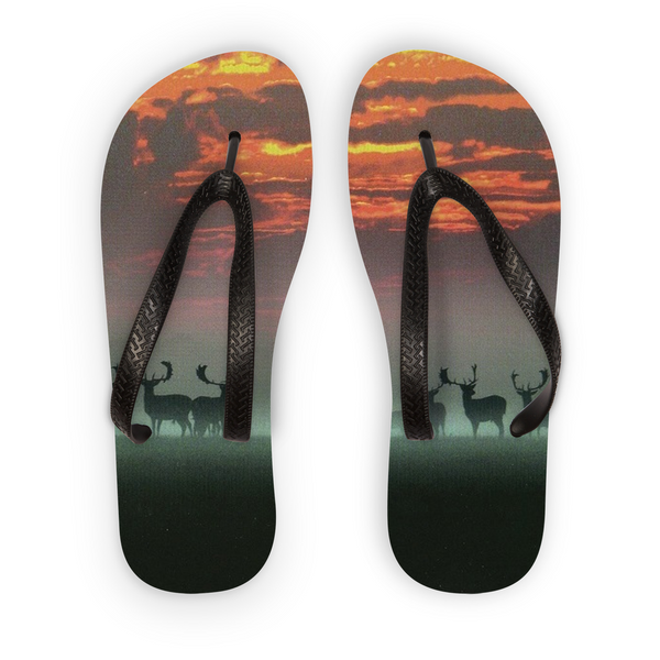Sunset Deer Flip Flops