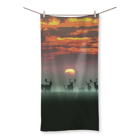 Sunset Deer Beach Towel
