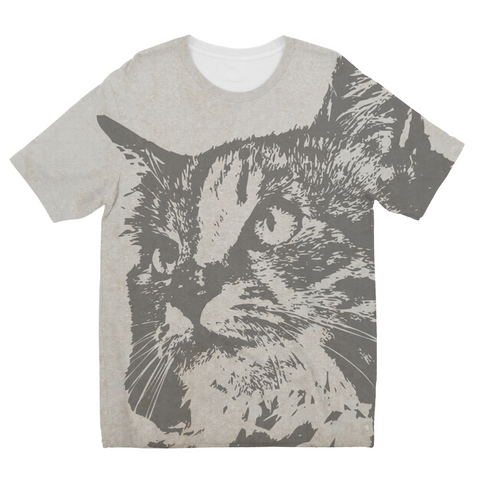 Grey Cat Kids Sublimation T-Shirt