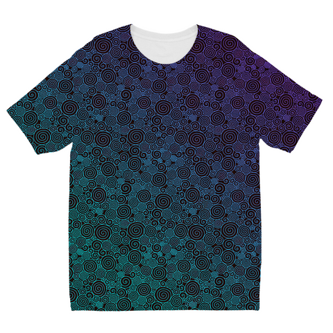 Purple Cyan Curls Kids Sublimation T-Shirt