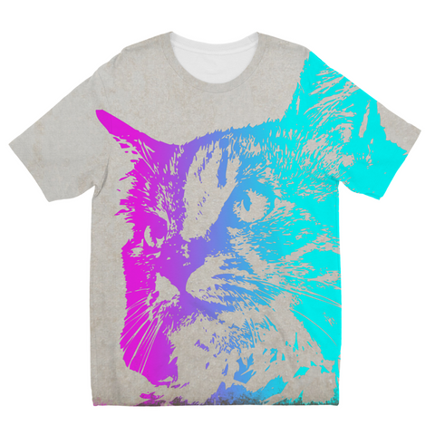Neon Cat Kids Sublimation T-Shirt