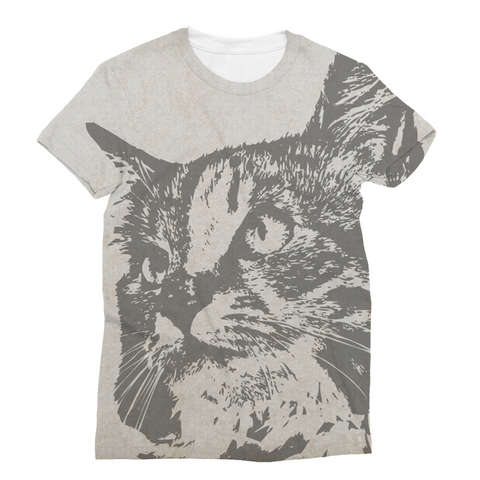 Grey Cat Unisex Sublimation T-Shirt