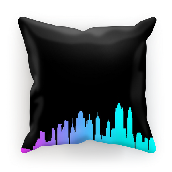 NYC Neon Skyline Pillow