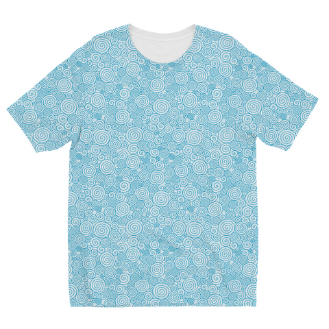 Blue Curly Pattern Kids Sublimation T-Shirt