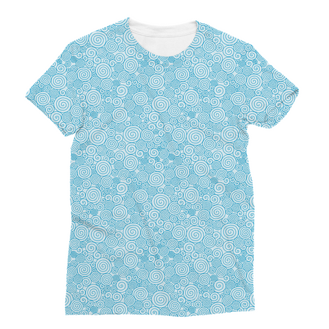 Blue Curly Pattern Unisex Sublimation T-Shirt
