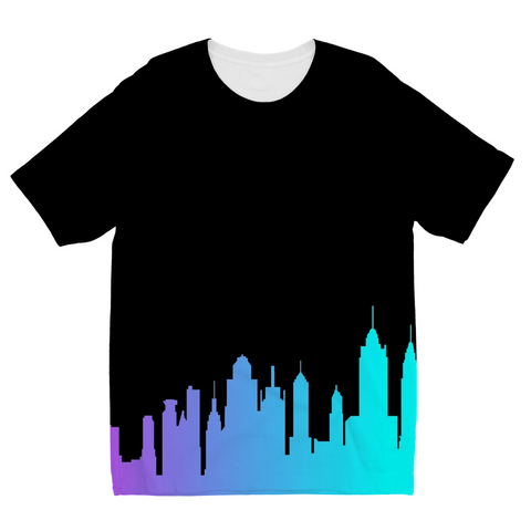 NYC Neon Skyline Kids Sublimation T-Shirt