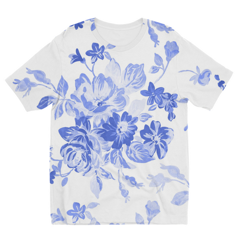 Blue Flowers Kids Sublimation T-Shirt