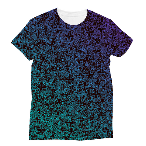 Purple Cyan Curls Unisex Sublimation T-Shirt
