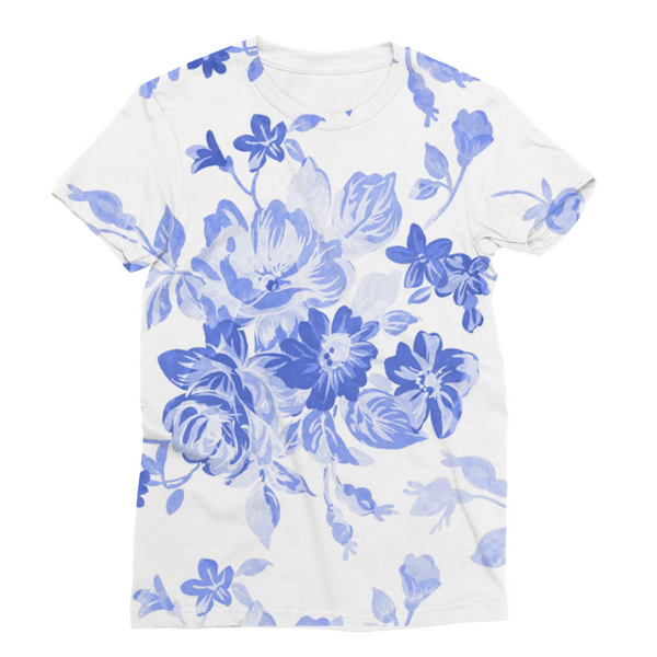 Blue Flowers Unisex Sublimation T-Shirt