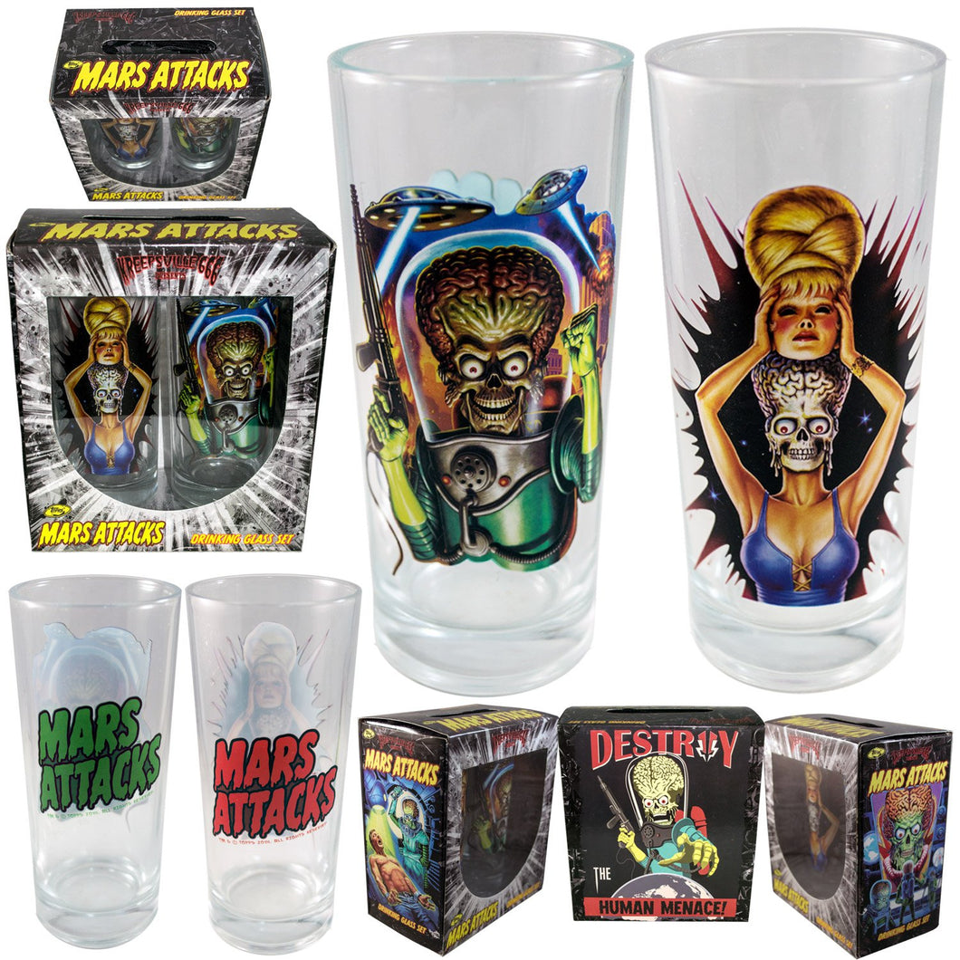 Mars Attacks Set of 2 Drinking Glasses