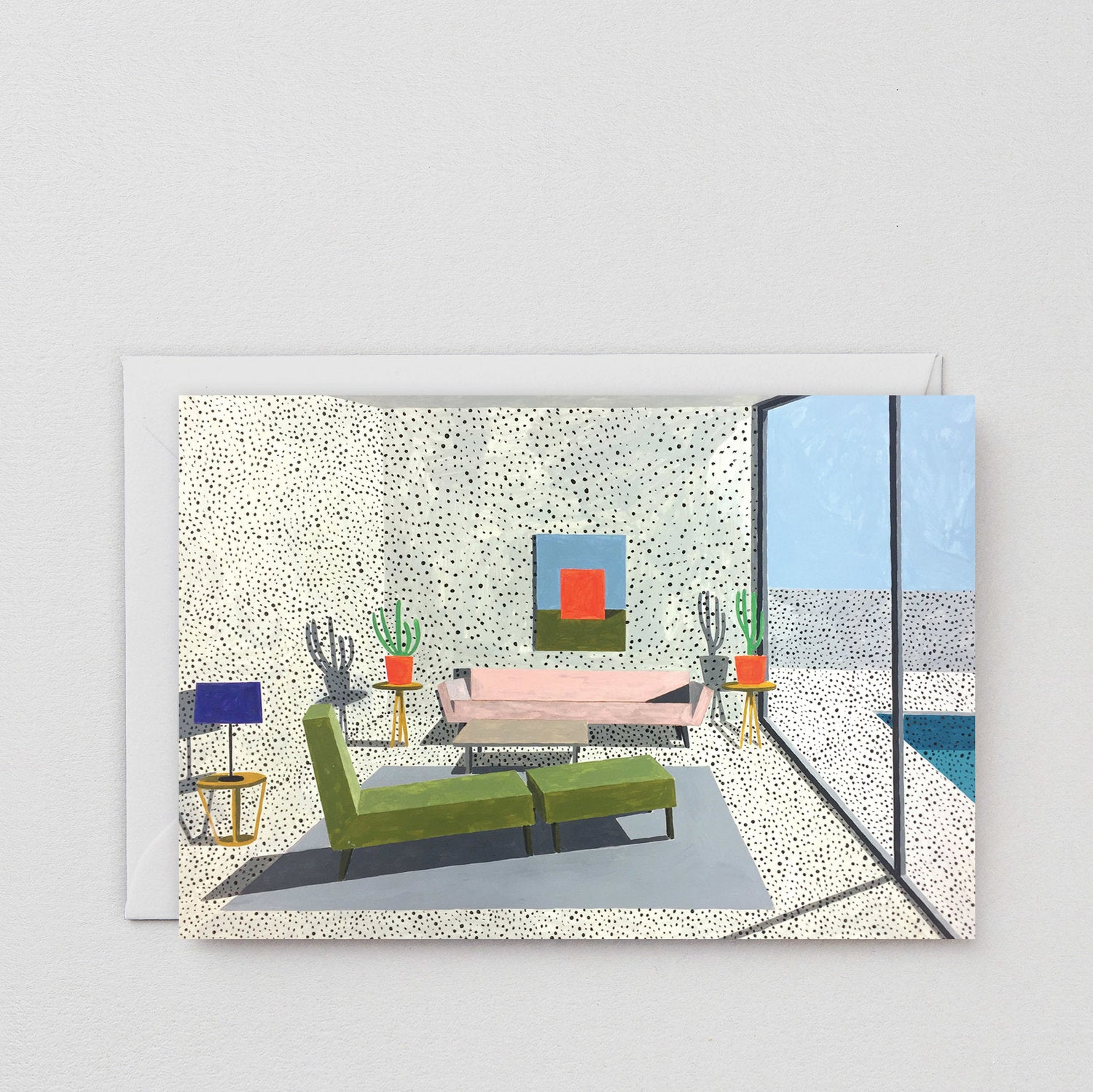 Interior with Green Chair Art Card