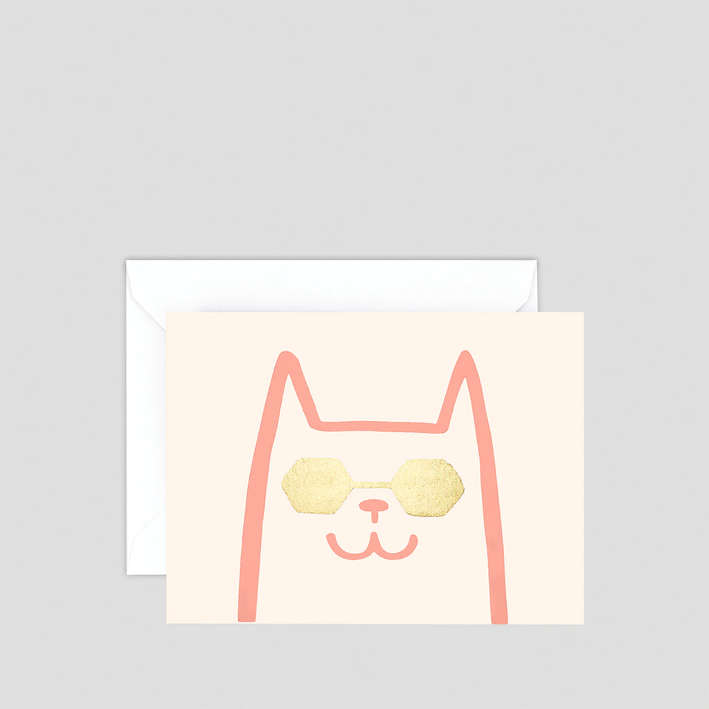 Cat With Shades Mini Letterpress Card