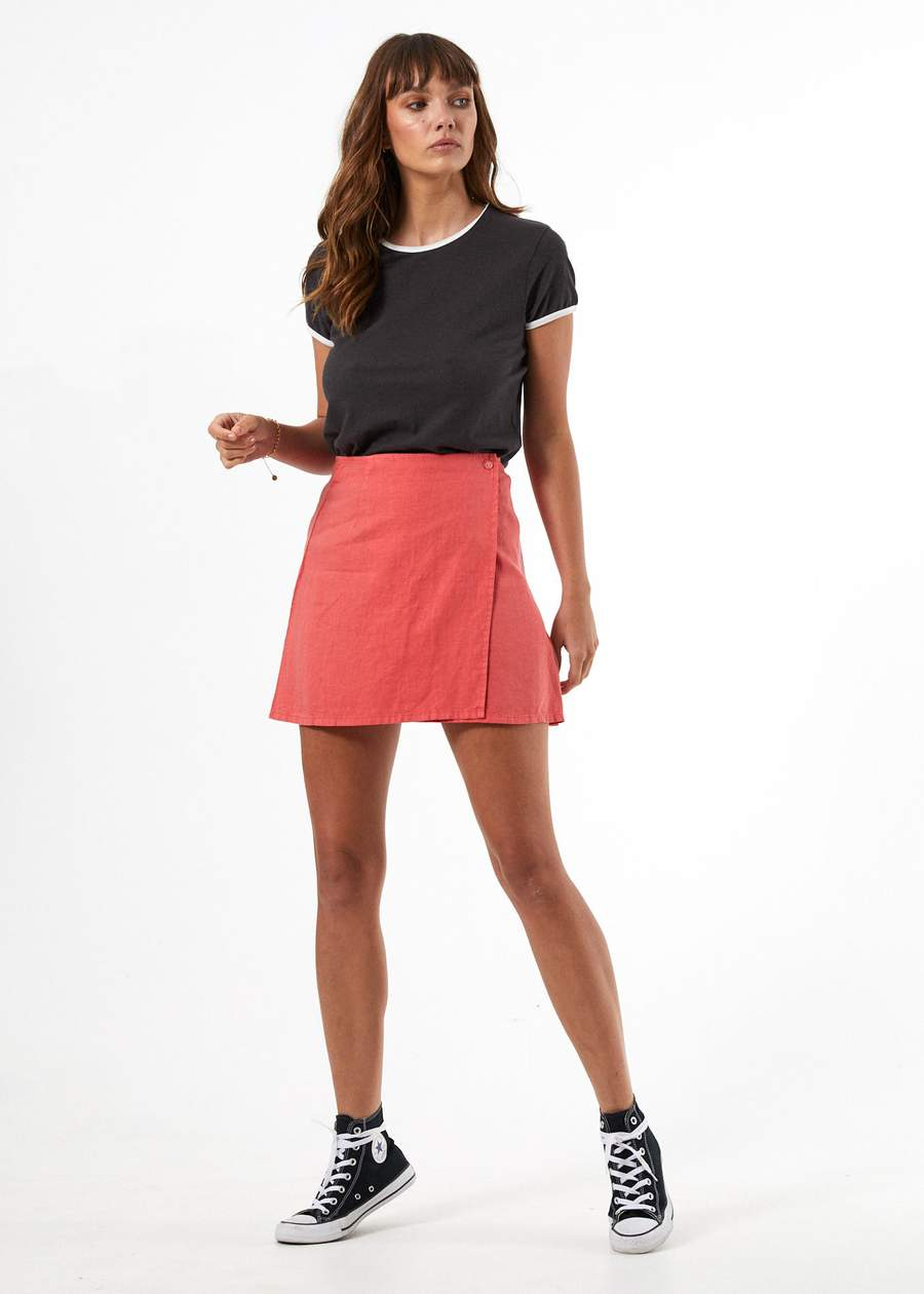 Loren Hemp Wrap Skirt - Coral