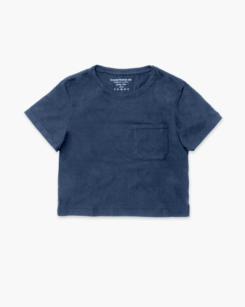 Boxy Crop Tee - Navy