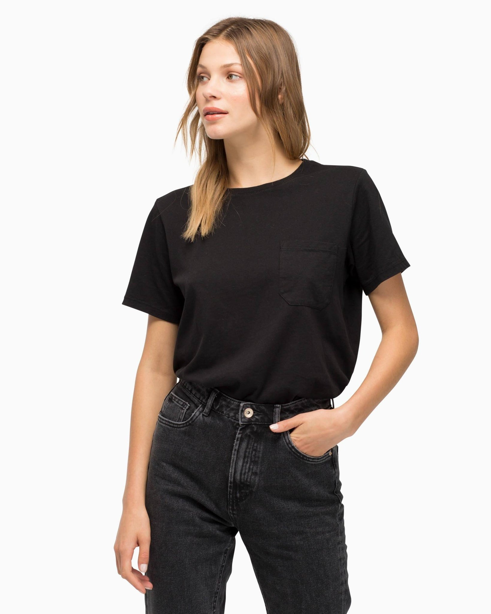 Women's Crew Pocket Tee - Black