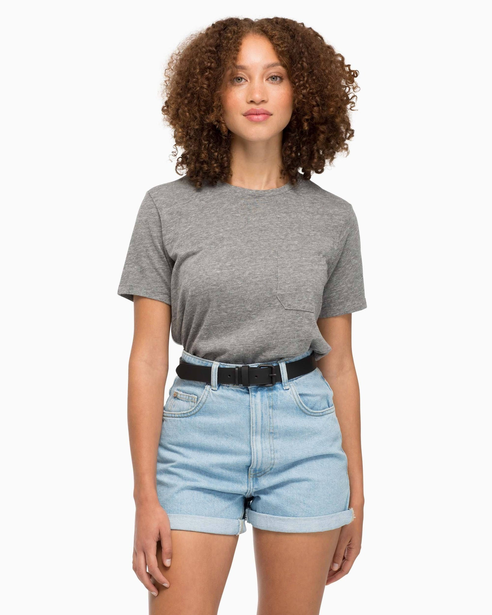 Women's Pocket Crew Tee - Heather Grey