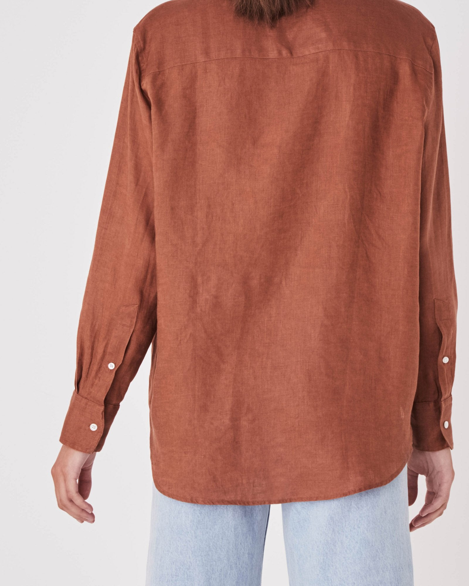 Xander Long Sleeve Linen Shirt - Terracotta