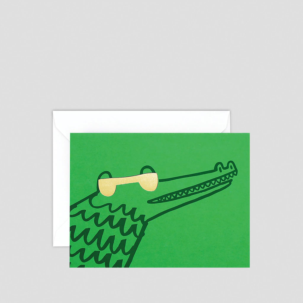 Croc With Shades Mini Letterpress Card