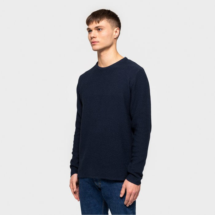 Organic Cotton Knitted Sweater - Dark Navy