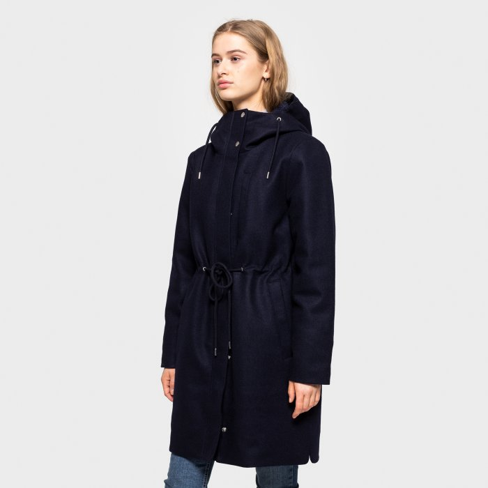 Long Wool Jacket - Navy