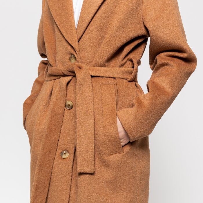 Long Wool Jacket - Khaki