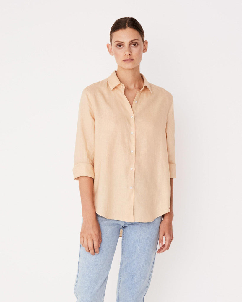 Xander Long Sleeve Linen Shirt - Apricot