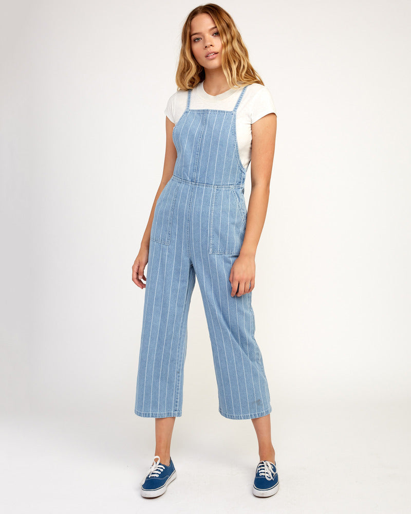 Called It Striped Denim Overalls - Washed Stripe