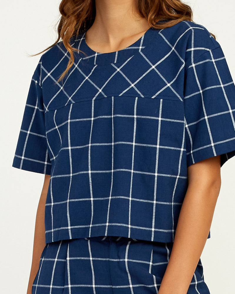 Flux Grid Cropped Top - Navy