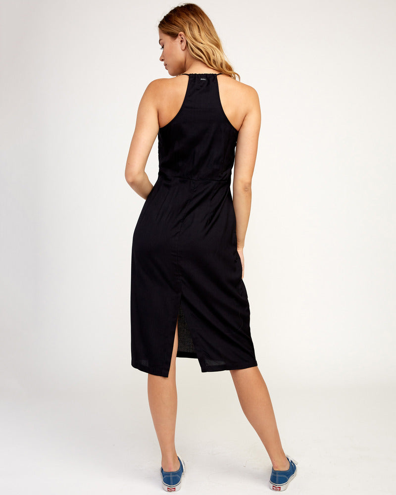 Cece Woven Midi Dress - Black