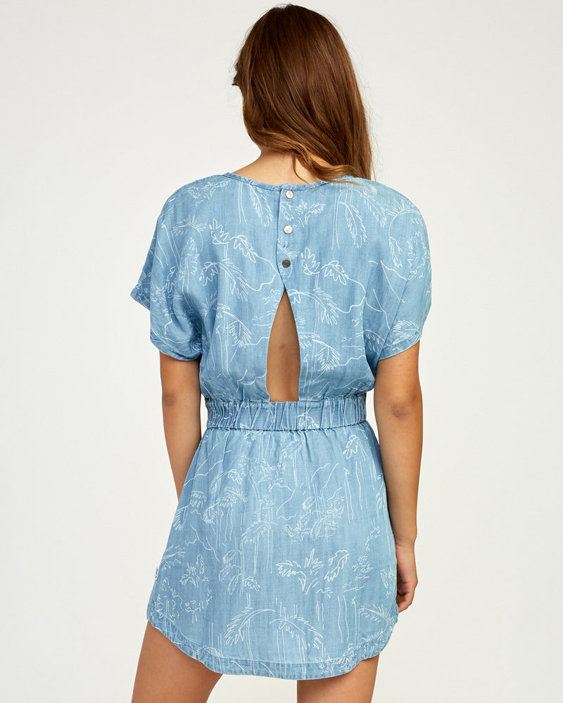 Nothing Left Printed Chambray Dress