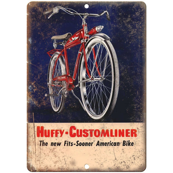"1955 Huffy Bicycle Ad Customliner Bike - 10"" x 7"" Retro Look Metal Sign"