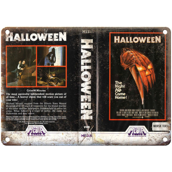 "1981 - Halloween Movie VHS Cover 10"" x 7"" Reproduction Metal Sign"