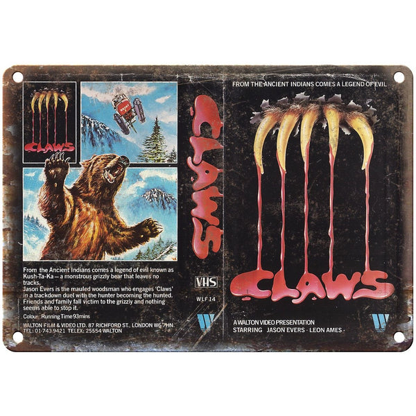 "Claws A. Walton Video VHS Cover Art 10"" X 7"" Reproduction Metal Sign V26"