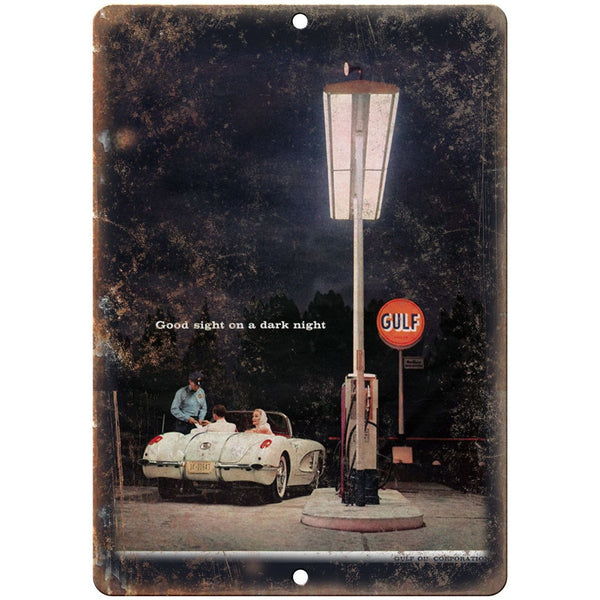 "Gulf A Good Night on A Dark Nigh Vintage Ad 10"" x 7"" Reproduction Metal Sign A19"