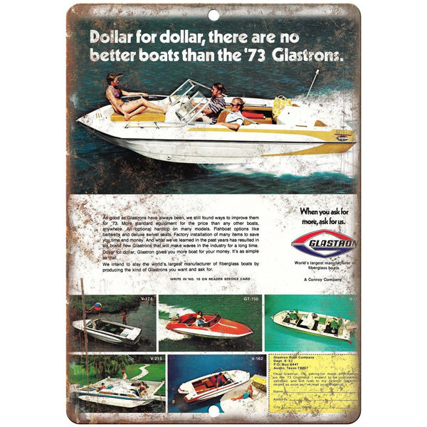 "73 Glastron Boat Vintage Ad 10"" x 7"" Reproduction Metal Sign L38"