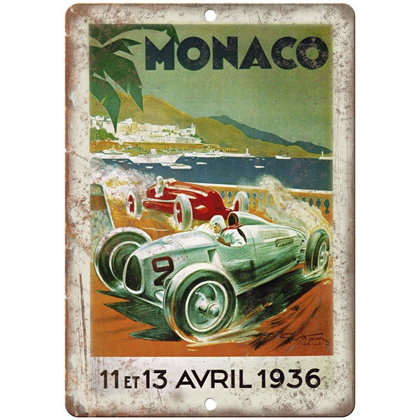 "1936 Monaco Automobile Race Poster 10"" X 7"" Reproduction Metal Sign A569"
