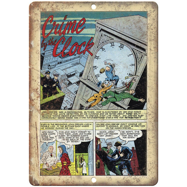 "Crime By The Clock Vintage Comic Strip 10"" X 7"" Reproduction Metal Sign J312"
