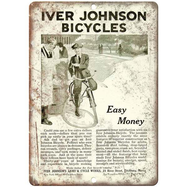 "Iver Johnson Bicycles Easy Money Vintage 10"" x 7"" Reproduction Metal Sign B314"