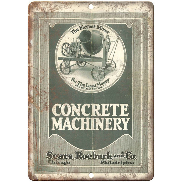 "Sears Roebuck and Co. Concrete Mixer Ad Garage - 10"" x 7"" Retro Look Metal Sign"