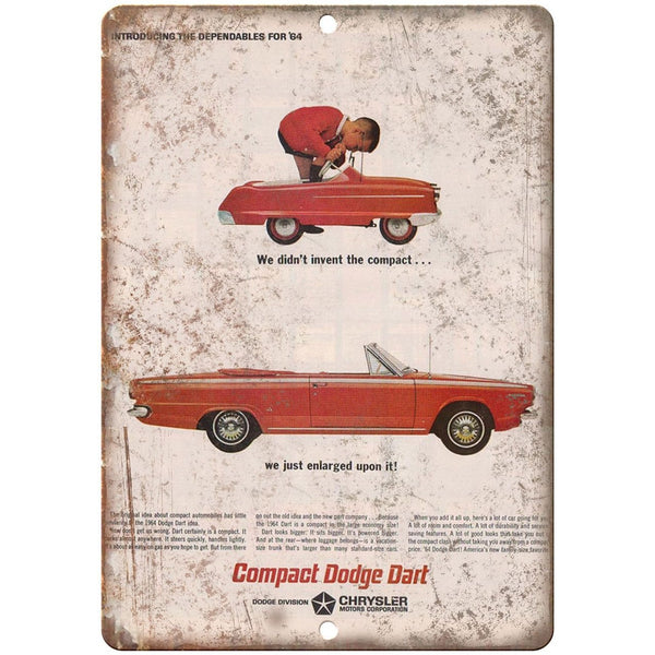 "10"" x 7"" Metal Sign - 1964 Compact Dodge Dart - Vintage Look Reproduction"