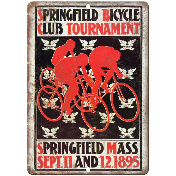 "Springfield Bicycle Club Tournament Ad 10"" x 7"" Reproduction Metal Sign B355"