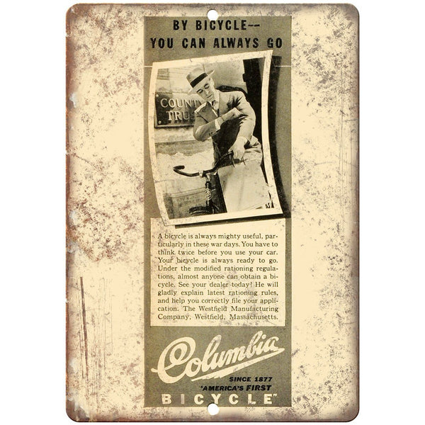 "Columbia Bicycle Vintage Ad 10"" x 7"" Reproduction Metal Sign B378"