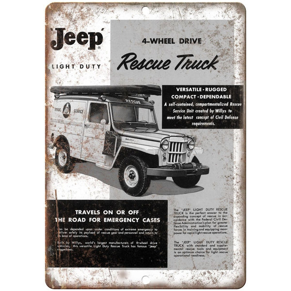 "Jeep Rescue Truck 4 Wheel Drive Emergency Truck 10"" x 7"" Retro Look Metal Sign"