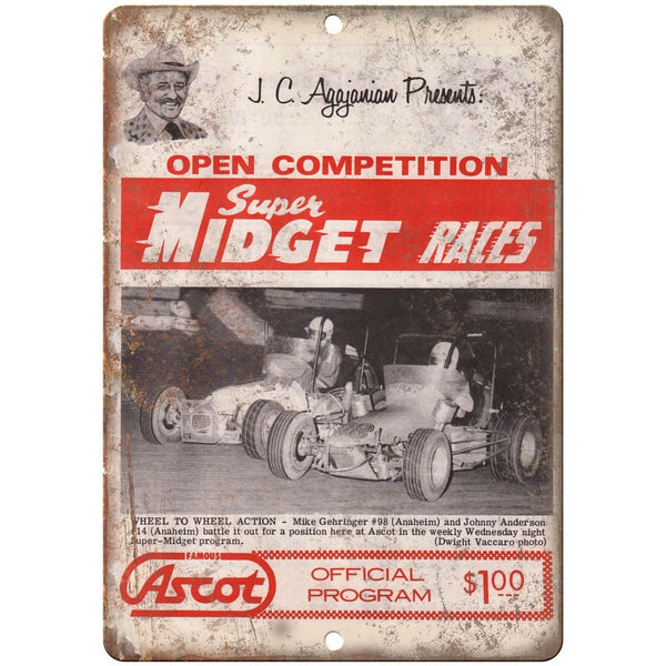 "Super Midget Races Ascot JC Agajanian 10"" X 7"" Reproduction Metal Sign A521"